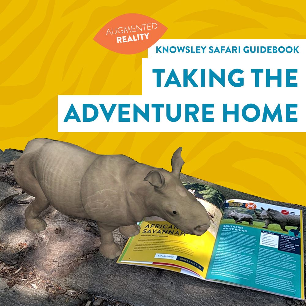 Do you have a Knowsley Safari guidebook at home? Then you can bring the safari to your house using our augmented reality app - it's FREE! Simply download the app, open the guidebook to the trigger pages and you can have a giraffe, tiger, rhino, lion, meerkat, wolf and bird of prey moving around your house or garden.