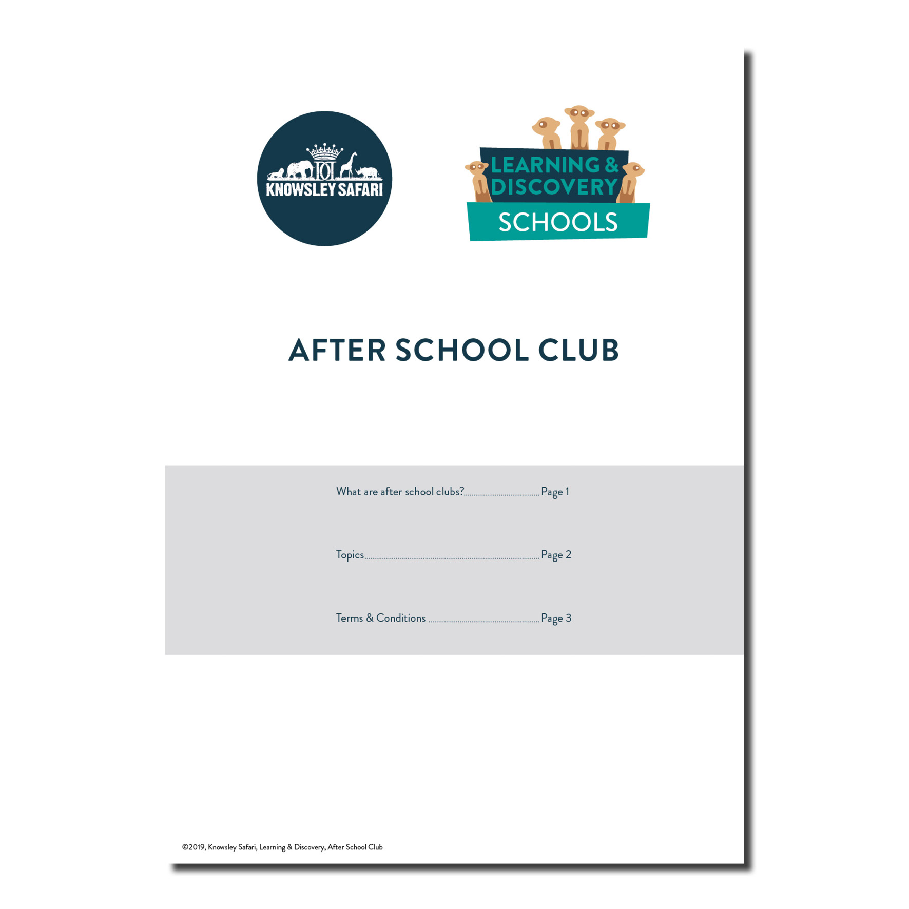 After School Club Booklet